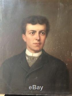 Gianoli portrait d'homme tableau ancien huile sur toile XIXe