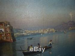 Giovanni Battista peinture huile sur toile pêcheurs dans la baie de Naples
