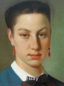 Grand & Magnifique Portrait Bourgeois Vers 1830. Jeune Femme Aux Yeux Bleus