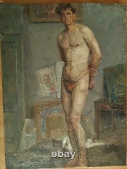 Grand Nu Anatomie Homme Debout dans Atelier Huile sur Toile vers 1920-30