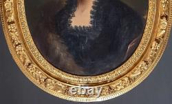 Grand Portrait à vue ovale 80 x 70 HST Ecole Française 19 eme