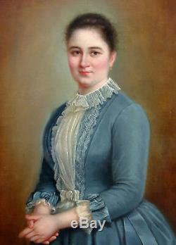Grand Portrait de femme Huile sur toile fin XIXème siècle vers 1890