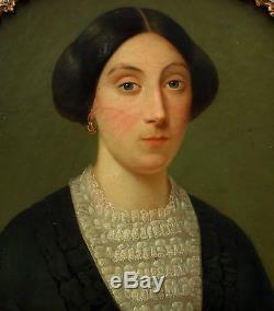 Grand Portrait de femme Huile sur toile milieu du XIXème siècle