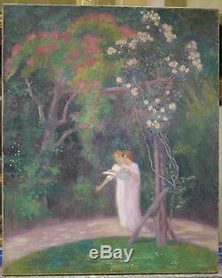 Grand Tableau Ancien Huile Symboliste Jeunes Femmes Paysage Jardin Fleurs XIXe