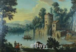 Grand Tableau Ancien Paysage Romantique L. P. CRÉPIN 18e elv. Hubert Robert rare