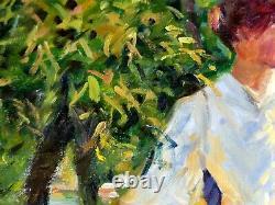 Grand Tableau Au verger d'après Edmund C. Tarbell Impressionniste américain