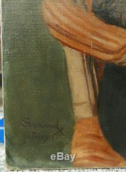 Grand Tableau Huile Original GUSTAVE SURAND Portrait Femme Ancien Bijoux 1913