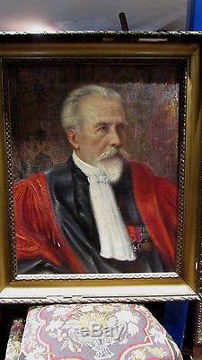 Grand Tableau Huile SurToile Portrait juge avocat XIX judge antique oil canevas