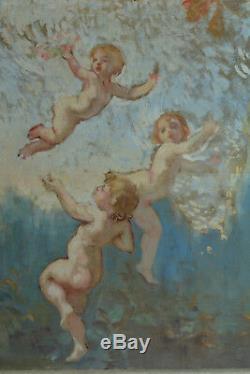 Grand Tableau ancien 19 ème Paysage Amour Putti Chérubin Jardin 1,90mx0,9 Déco