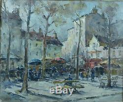Grand Tableau ancien Hermann Edouard Wagner Vue de Montmartre Paris Street View