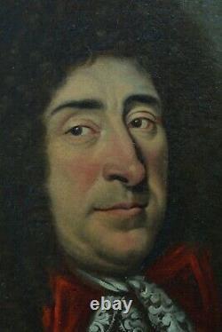 Grand Tableau ancien Portrait d'homme Perruque Armure Harmet Blason 17 ème hst