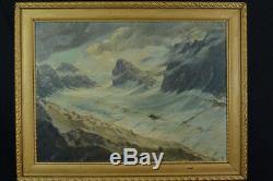 Grand Tableau de Montagne Mer de Glace Glacier Neige Pyrénées Alpes Sommet 1900