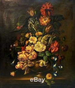 Grand Vase Avec Des Fleurs. Huile Sur Toile. Signé A. Millán. Espagne. Xix-xx