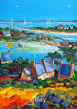 Grand format Ile de Bréhat DOUCHEZ Peinture huile sur toile au couteau Bretagne