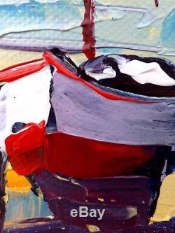 Grand format JP DOUCHEZ Peinture huile sur toile au couteau Bretagne Finistère