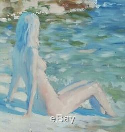 Grand huile /toile tableau Jeune femme signée Alexander SHEVCHUK