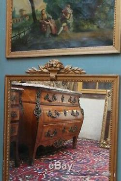 Grand miroir glace de cheminée trumeau tableau huile sur toile 19e Louis 16