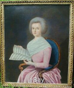 Grand portrait Jeune Femme à la Partition, 80 x 66 Ecole Française 18 eme HST