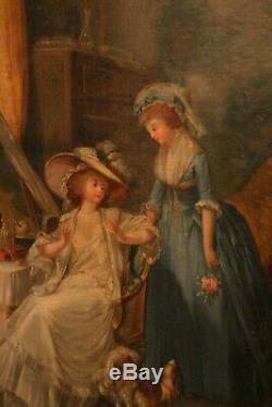 Grand tableau 19e huile sur toile portrait de Marie-Antoinette
