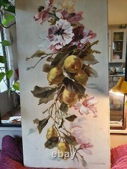 Grand tableau ancien huile sur toile nature morte inspiration Catherine Klein 1
