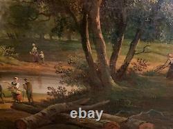 Grand tableau huile sur toile fin XVIIIe Georget paysage animé vaches rivière