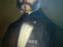 Grande HST 1856 Peinture Portrait Homme de Qualité Signé Jules Augé