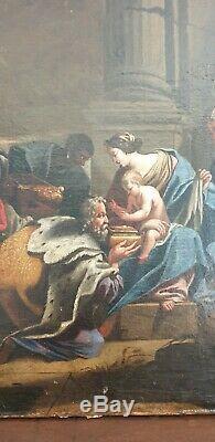Grande Huile Sur Toile XVIII religieuse 18 e L'adoration des mages tableau
