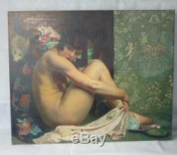 Grande huile sur toile nu art déco G. NAUWELAERST