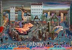 Guillaud Pierre huile sur toile signée datée art naïf surréaliste Paris art