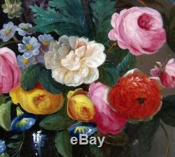 Guillaumet 1847. Grande & Magnifique Toile. Nature-morte Au Bouquet De Fleurs