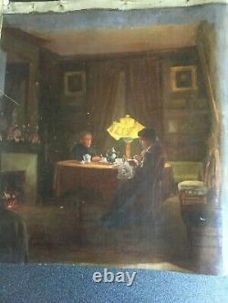 H121-ANONYME Scène d'intérieur, femme brodant. Huile sur toile, vers 1900