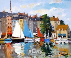 Honfleur, Voiliers Port Tableau Peinture Huile Toile 60x50 Signée R ...