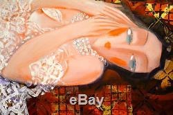 HRASARKOS EXCEPTIONNELLE GRANDE TOILE Huile 145x182 cm Femme allongée