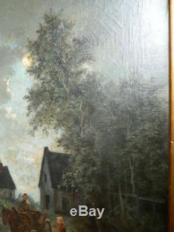 HST Huile sur Toile Clair de Lune Paysage moulin à vent signé DE LOS SETOS