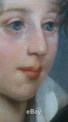 HST Magnifique portrait d'un enfant 1ère moitié du XIXème Huile sur toile