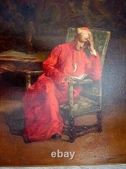 HST Religieux à la lecture signé Sécheret Ecole Française XIXe