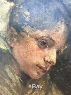 HST Tableau Huile Sur Toile Portrait Femme Élégante Chapeau Signe Ayrton Annie