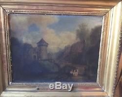 HUILE SUR TOILE ANCIENNE -18ème VALLÉE DE LA BIRSE SUISSE Antic Painting