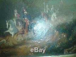 HUILE SUR TOILE CONVOI MEDIEVAL DANS UN PAYSAGE, Ecole Française vers 1830