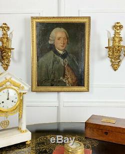 HUILE SUR TOILE ÉCOLE FRANÇAISE DU XVIIIe, PORTRAIT D'UN HOMME DE QUALITÉ