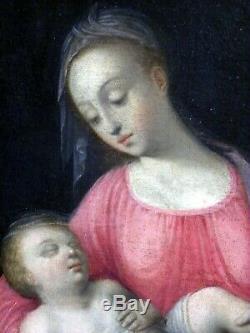 HUILE SUR TOILE ECOLE FRANÇAISE DU XVIIéme DE LUBIN BAUGIN LA VIERGE A L'ENFANT