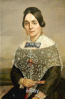 HUILE SUR TOILE XIX é / DAME DE QUALITÉ / PORTRAIT 1848 / TABLEAU ANCIEN
