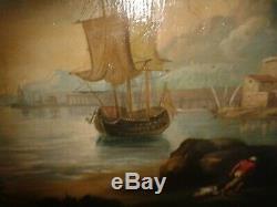 HUILE SUR TOILE dans le goût du XVIIIe Scène de retour de pêche sur fond marin