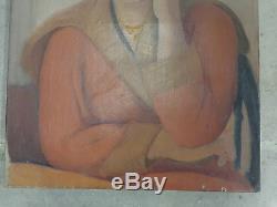 Huile/ Toile Portrait De Femme Art Deco Signe Charles A Bischoff
