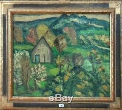HYLDA TODE -tableau huile sur toile Le pin au Haras dans l-Orne 1957