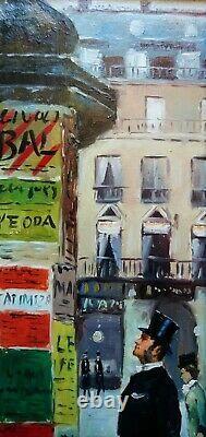 H. Renaud (1921-1990) Scène Animée Sur Boulevard A Paris, Huile S/toile Signée