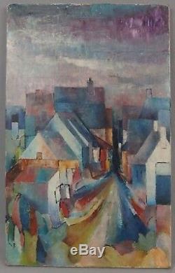 Henri Chouet né en 1946 huile sur toile cubiste paysage du Cher 1964