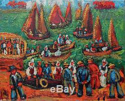 Henri d'Anty (1910-1998) huile sur toile Les pêcheurs au port 60 x 73 cm