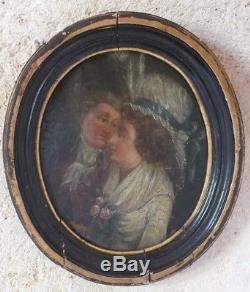 Hst huile sur toile 18 ème coupe dans un ovale peinture tableau