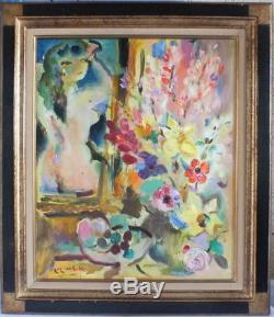 Hst huile sur toile de Klimek femme au bouquet peinture tableau painting